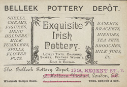Advert for the Belleek Pottery Depot